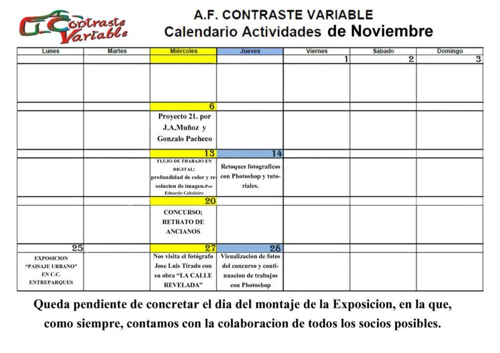 actividades noviembre 2019