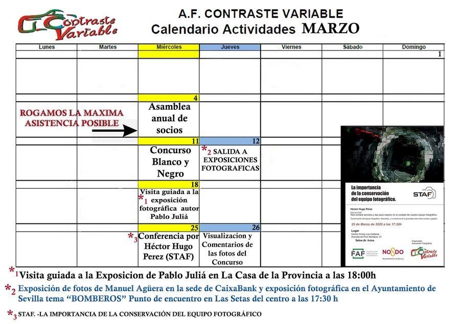calendario de actividades de marzo de 2020