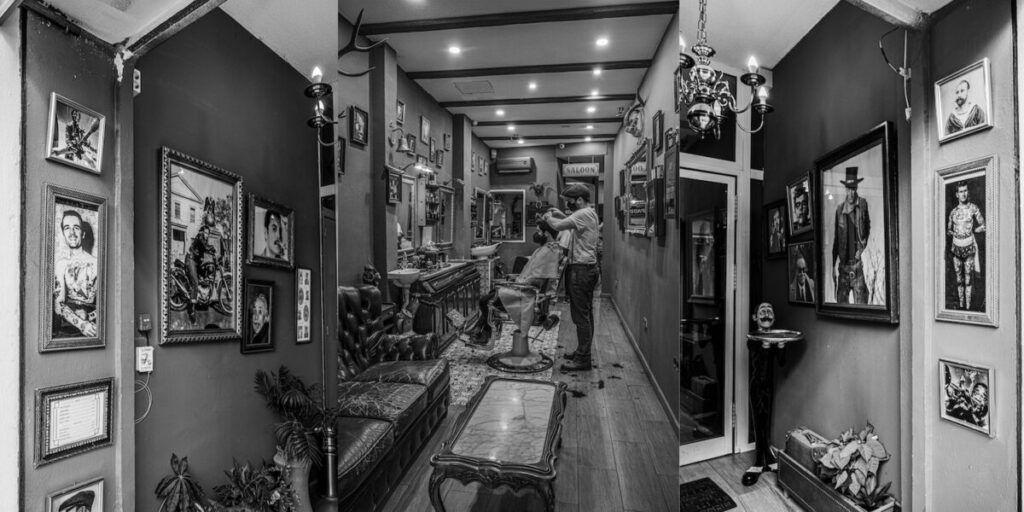 foto barberia en blanco y negro