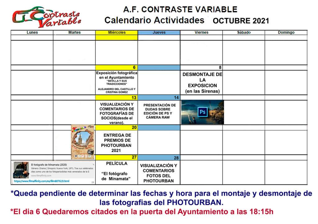 calendario de actividades de octubre de 2021
